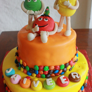 Happy Belly Bakes- M&M theme birthday cake