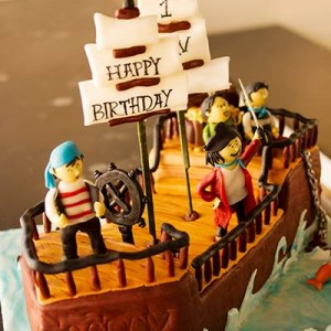 Butter Side Up- Pirate birthday cake ship theme pirate theme