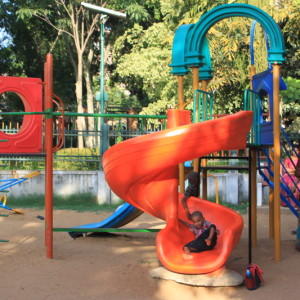 parks in Bangalore, J P Park, Mathikere, Bangalore is one the best parks in to enjoy with your children with a sandpit, fountain, lake, rock garden, slides, swings, play area.