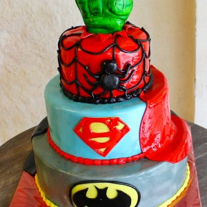 Happy Belly Bakes, Frazer Town, Superheroes theme cake