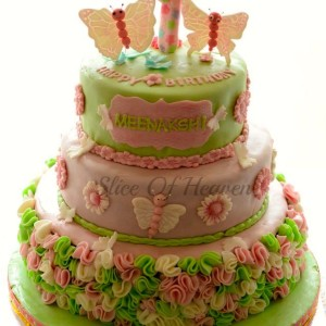 Slice of Heaven- Butterfly theme Birthday Cake