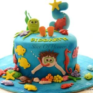 Slice of Heaven- Under the water Underwater world theme Birthday cake