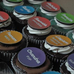 Bite Me Cupcakes- Corporate logos custom cupcake