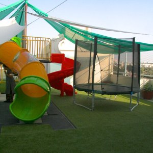PlayGym, Kalyan Nagar, slide & trampoline area, play areas