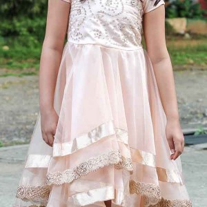 Flutterbows Kids Peach Dress