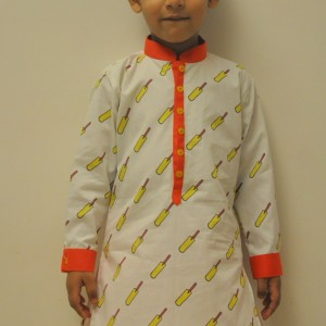 Little Stars Ethnic Kurtas with Bat Design