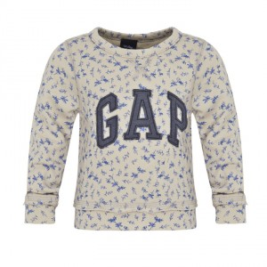 Baby Gap Cream Sweatshirt wih Blue Floral Pattern