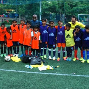 Paris Saint Germain Football India Students with Coach