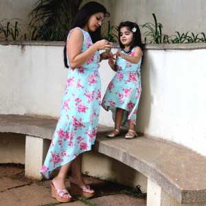 BonOrganik Mother and Daughter Similar Clothing Dress