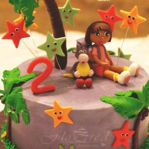 Floured-Dora-Themed-Cake