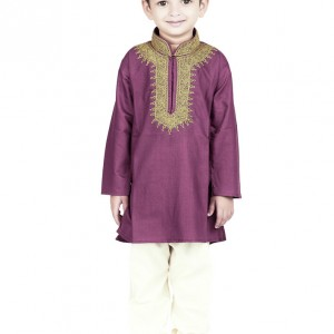 BownBee_embroidered_kurta_pyjama_purple