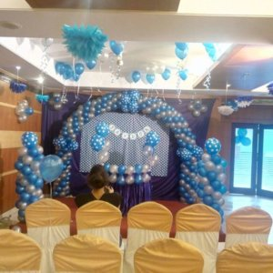 Blue and White Balloon Backdrop