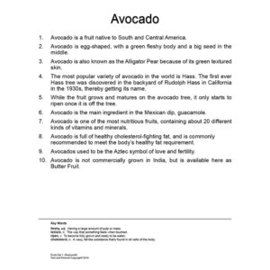 Avocado Flash Card