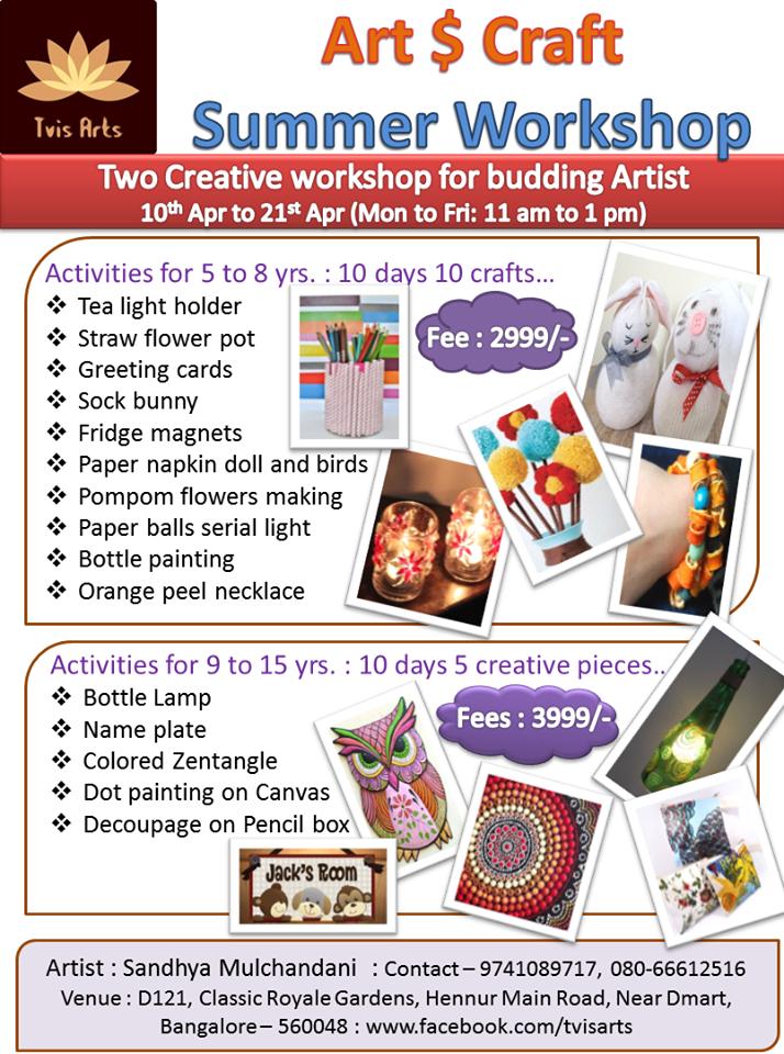 Art amp Craft Summer Workshop Hennur Main Road Bangalore