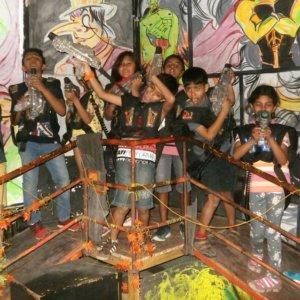 Kids having fun at Lazer Castle
