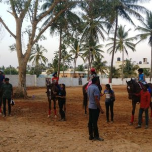 Kids learning horse riding