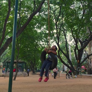 Defence Colony Park, Indiranagar, Bangalore is one the best parks to visit in Bangalore with your kids to enjoy the open spaces, rides, garden, swings, slides, rope bridgen adventure zone, cycling track, walking track and play area