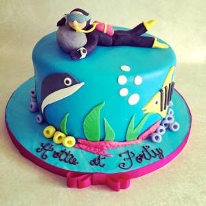 Pumpkin Baker- Scuba diver theme Birthday Cake