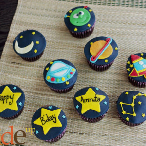 Butter Side Up- Space theme cupcake