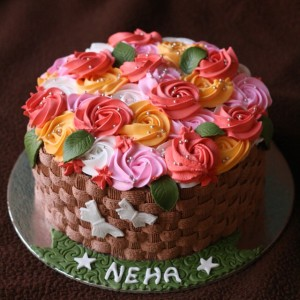 Baking Express- Flower Roses Designer Birthday Cake