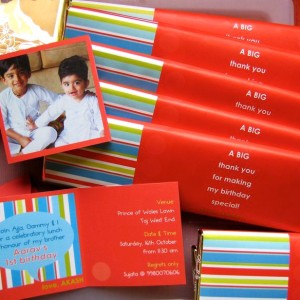 Templetree Personalised Thank you notes cards and customised chocolate bar wrapping