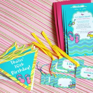 Templetree Pool Theme Invites, Tags and Bunting