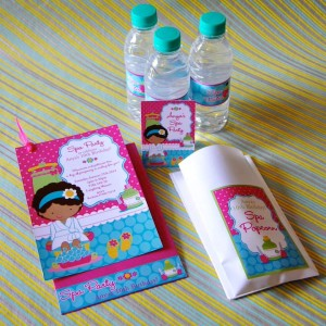 Templetree Spa Themed Customised Water bottle stickers, Cards and Favour Bags