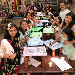 Kids busy in art activities at The Spinning Wheel