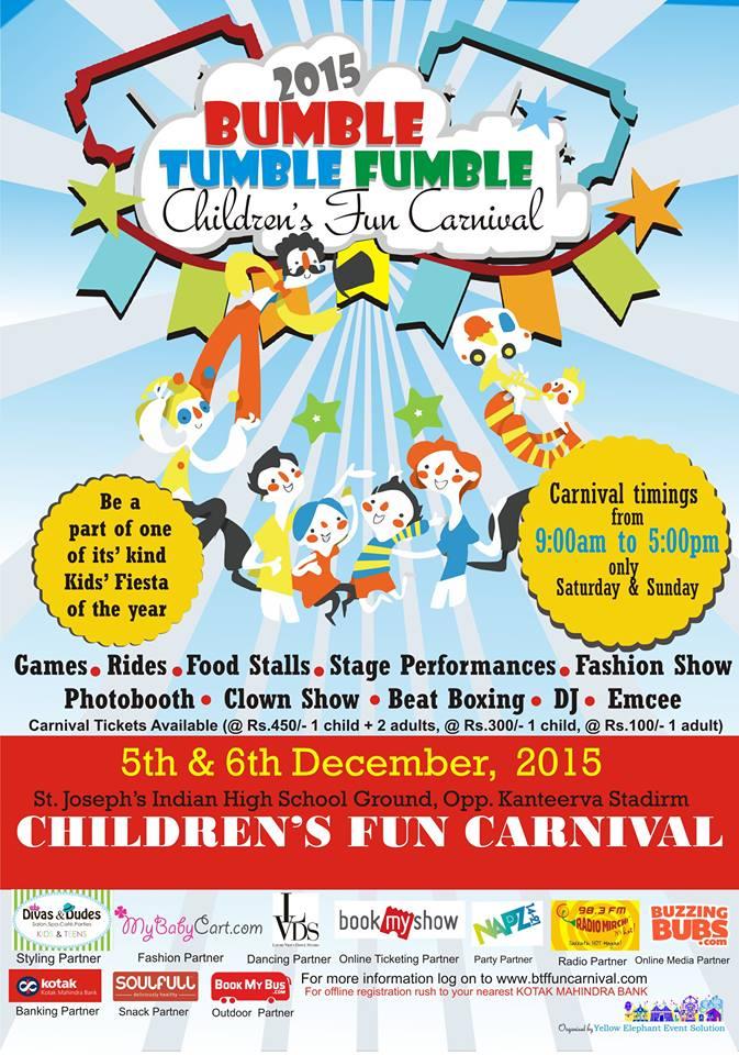 Fun, fun and more fun at the 'Bumble Tumble Fumble' Children's fun carnival this weekend! Cover Image
