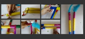 make dandiya sticks, raas garba, navratri