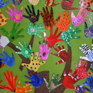 Kids Painted Hands at Gaia Preschool & Daycare