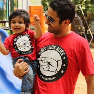 BonOrganik Dad and Son Similar Clothing Red and T-Shirt