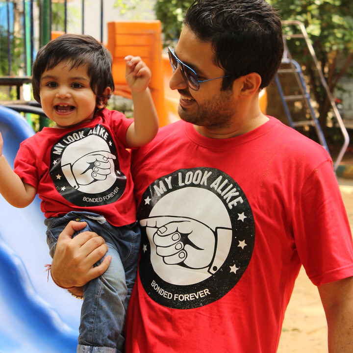 b4f2e0ebf BonOrganik Dad and Son Similar Clothing Red and T-Shirt