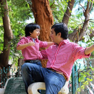 BonOrganik Dad and Son Similar Clothing Red and White Check Shirt