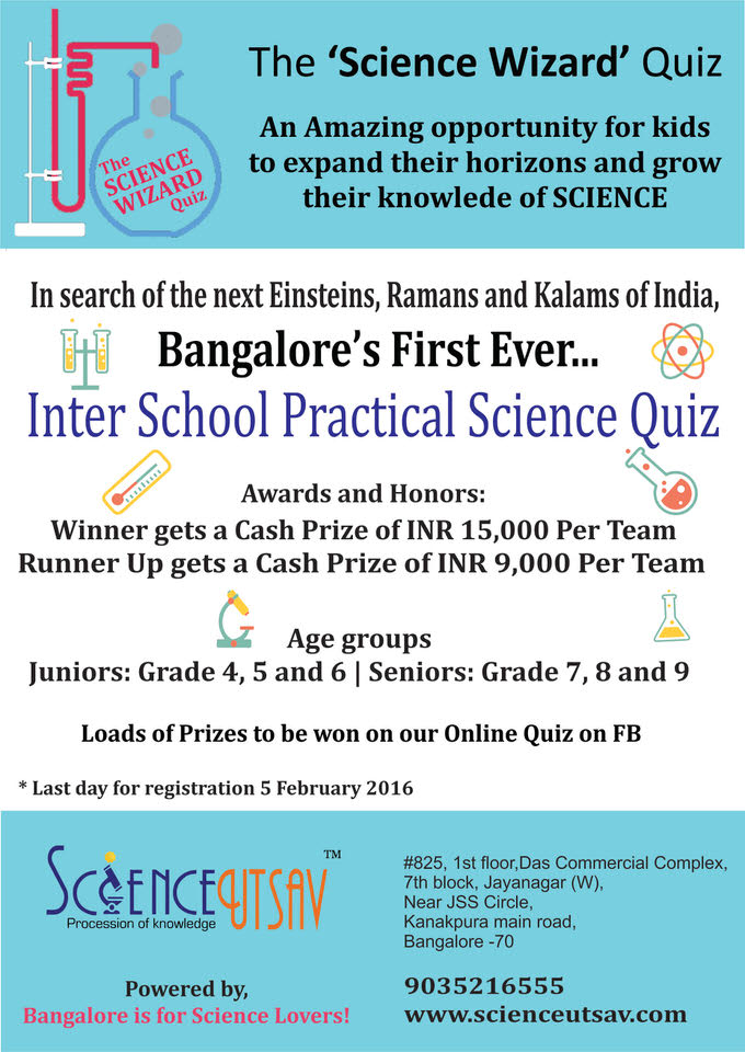 Science Wizard Quiz, ScienceUtsav, Jayanagar