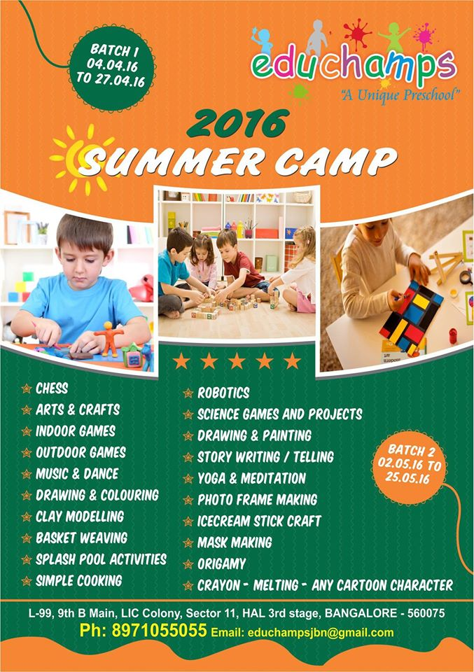 Educhamps summer camp buzzingbubs for Summer camp arts and crafts projects