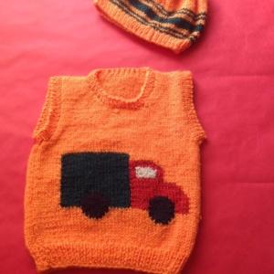 Cap and Half Sleeve Orange Sweater