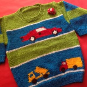 Hand Knit Car Design Sweater