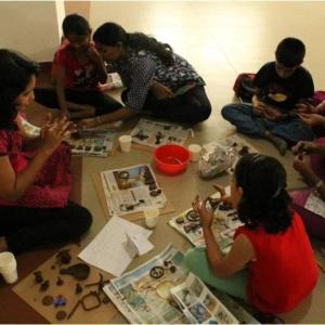 Kids enjoying Water Colouring