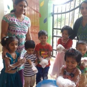 Kids having fun making Bubbles