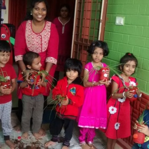 The Little Gardeners with their Plants