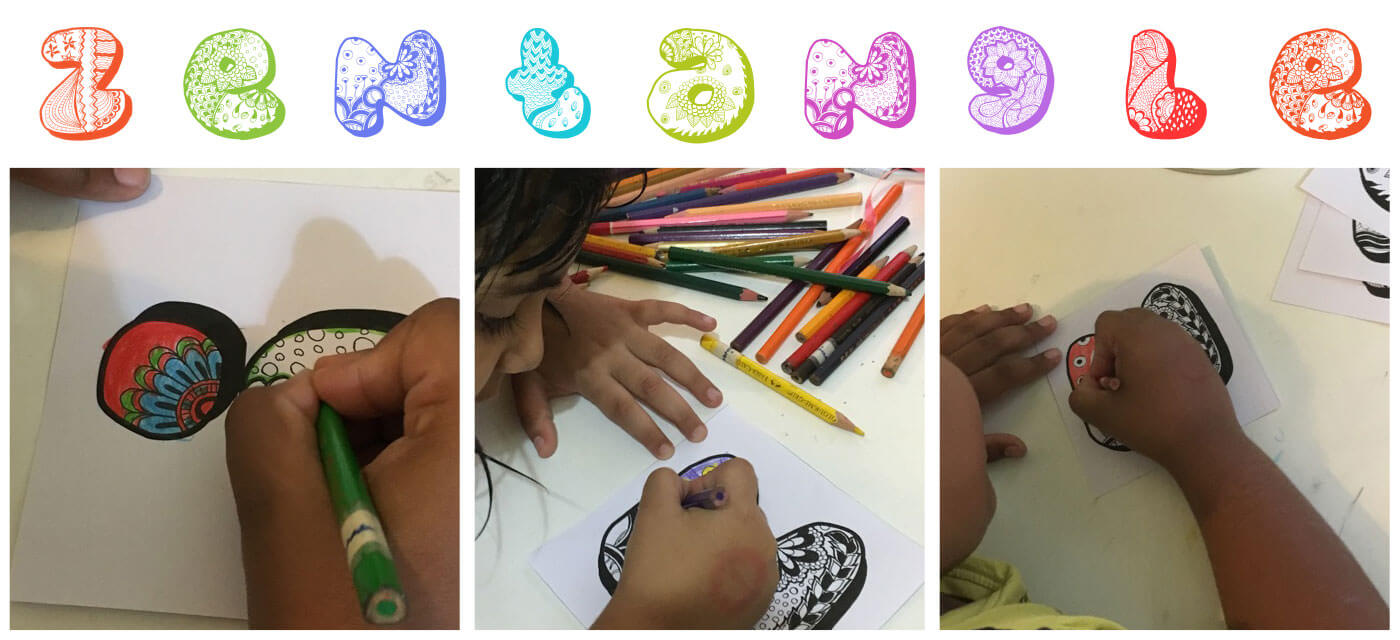 Zentangle colouring: 26 printable letters for kids Cover Image