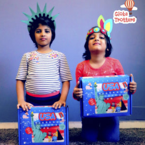 Children playing with USA Country DIY Box