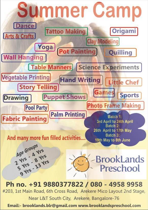 Summer Camp At Brooklands Preschool Mico Layout Bangalore