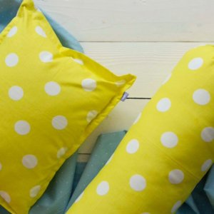 Yellow Polka Dotted Pillow Cover