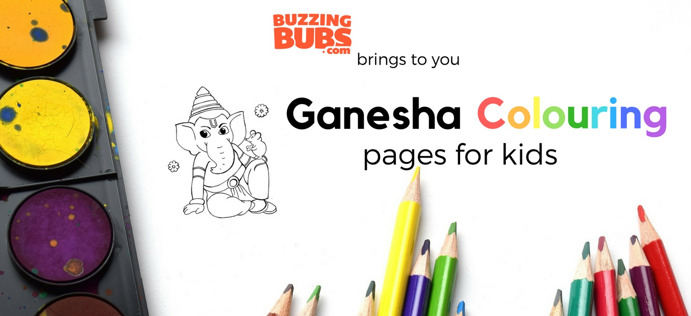 6 Ganesha Colouring Pages For Kids Downloadable Sheets Cover Image