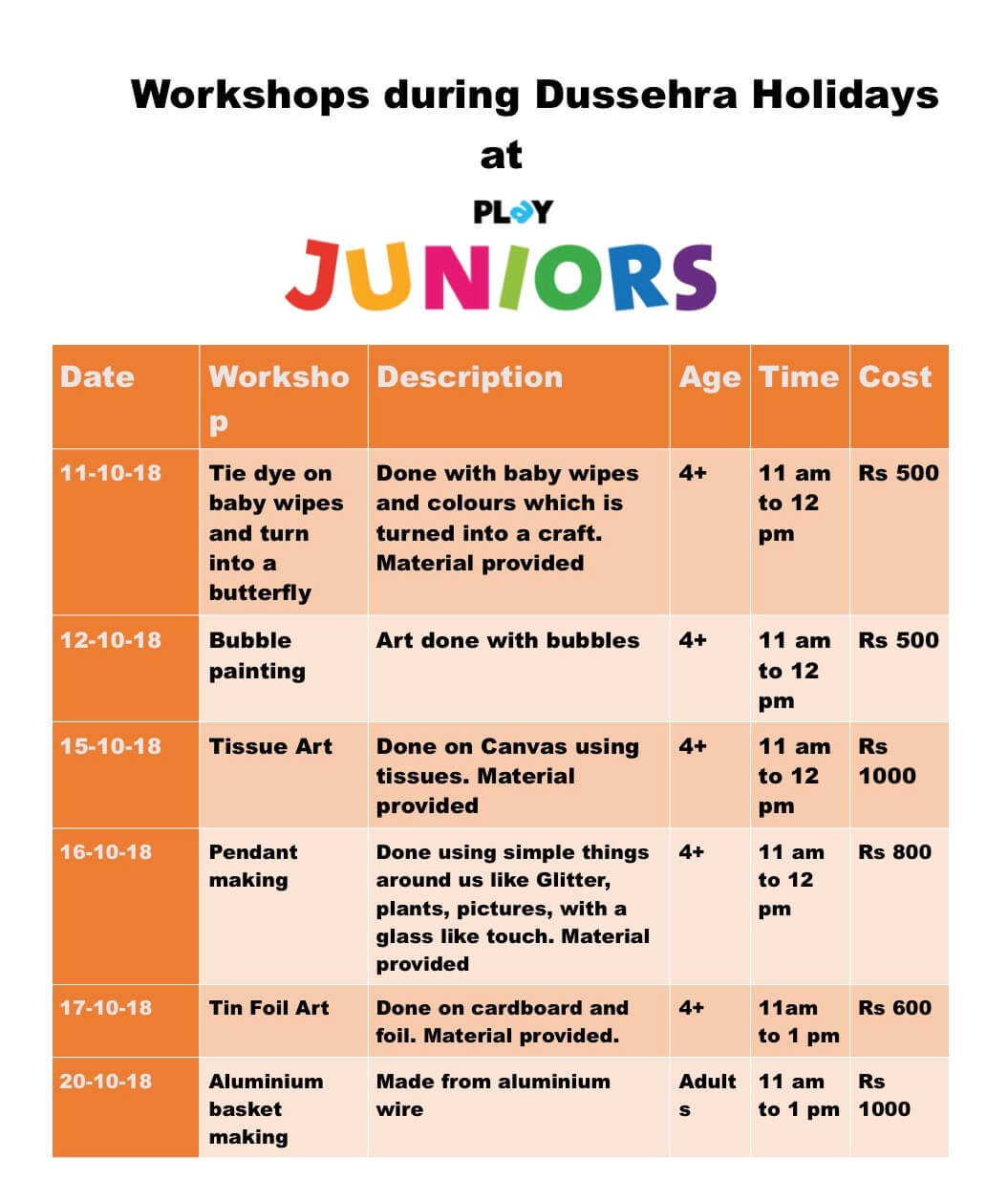 Dussehra Workshop at Play Juniors Cover Image