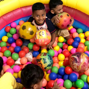 Kids in Ball Pit at Small World Preschool
