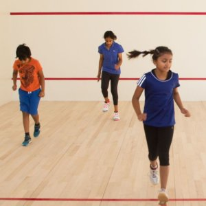 Kids during warm up before Squash