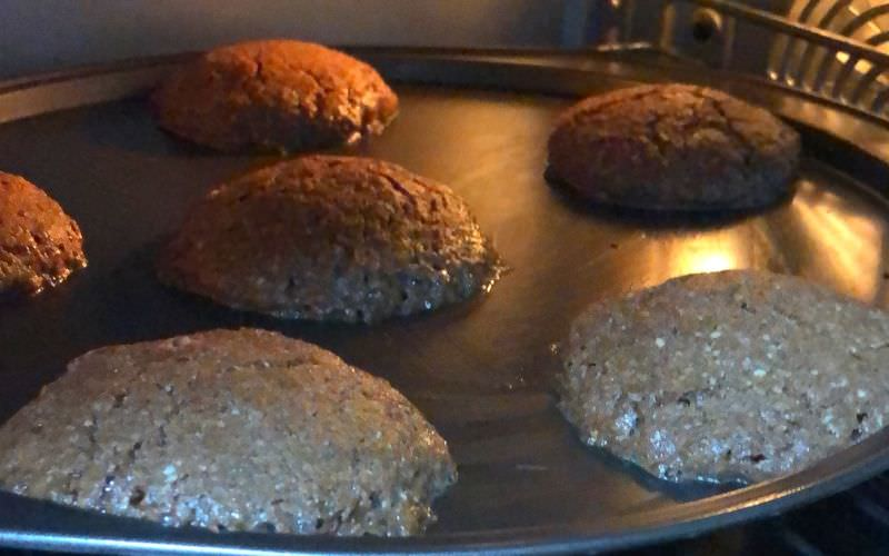 Chocolate Almond Cookies in the process of Baking